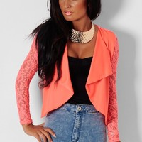 Dulcet Coral Cropped Lace Panel Jacket | Pink Boutique