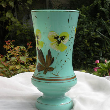 French vintage coloured glass vase. hand-painted vase. floral vase. pansy vase. French colored glass. French vintage vase. Vase french.