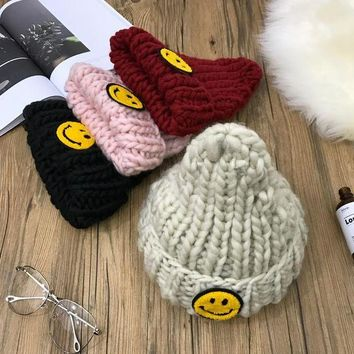 ONETOW Women Casual Smile Face Patch Rough Knit Hat Winter Accessories