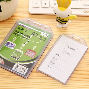 Vertical Plastic ID Card Badge Holder 54*85mm 105*74mm 125*86mm Clear Exhibition ID Name Card Holders Office Supplies