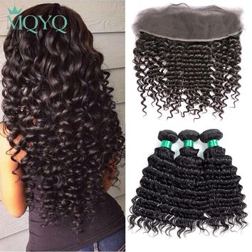 MQYQ Malaysian Deep Wave Human Hair 2/3/4 Bundles With Ear to Ear Closure Deep Curly 13x4 Lace Frontal Closure With Bundles