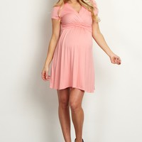 Pink-Draped-Front-Maternity-Dress