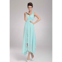 Sky Blue Asymmetrical Pleated Midi Chiffon Dress