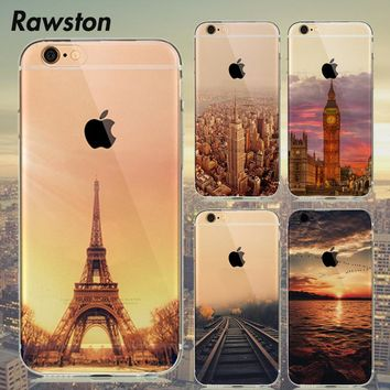 Eiffel Tower Silicone Clear Case Cover for Coque iPhone 8 7 6s 6 S Plus 5s 5SE New York Empire Building for iPhone SE Case