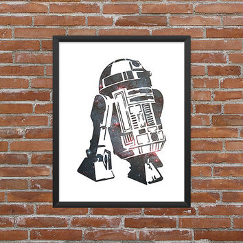 R2D2 Poster R2D2 Print Star Wars R2D2 Art r2d2 Outline Droid Star Wars Art Star Wars Print Outer Space Art Galaxy Art Nebula Art Download
