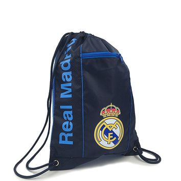 Real Madrid Cinch Bag Sack Soccer Book  Backpack Authentic Official navy Blue