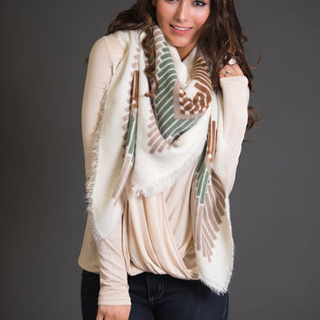 Stone Cold Tribal Blanket Scarf (Ivory)