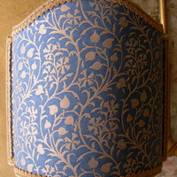 Venetian Lamp Shade Fortuny Fabric Granada in Blue & Silvery Gold Half Lampshade - Handmade in Italy