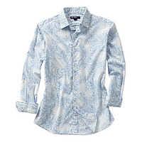 Cremieux Long-Sleeve Paisley Print Woven Shirt - Blue/White