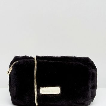 Claudia Canova Faux Fur Cross Body Bag in Black at asos.com