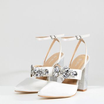 Be Mine Bridal Lucid Ivory Satin Embellished Heeled Shoes at asos.com