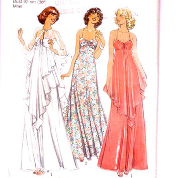 Misses' Dress and Cape. Unused vintage. Style 1585 vintage sewing pattern. Iconic 1970's maxi dress.