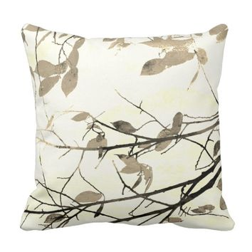 nature art pillow watercolor style leaves