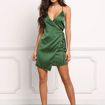 Emerald Green Satin Faux Wrap Dress