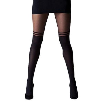 Women Cool Mock Over The Knee Double Stripe Sheer Black Sexy Temptation Sheer Mock Suspender Pantyhose Tights