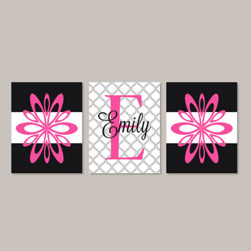 Teen Girl Wall Art Room Decor Floral Flower Hot Pink Black Monogram Name Initial Set of 3 Prints Or Canvas College Dorm Girl Decorations