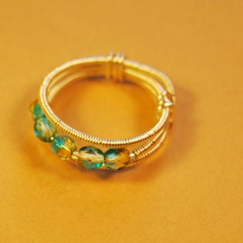 Wire Wrap Ring - Czech Polished Yellow Green Beads - Silver Filled Wire - Any Size - Jewelry - Rings