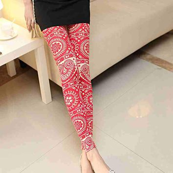 vintage flower paisley Leggings lovely print dot owl Leggins For Women summer lightweight leggings red black blue