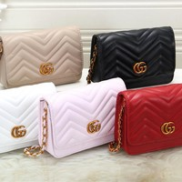 """Gucci"" Fashion All-match Double G Letter Embossed Metal Chain Single Shoulder Messenger Bag Women Clutch Small Bag"