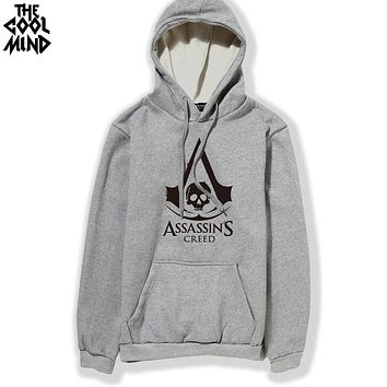 THE COOLMIND cotton blend assassins creed printed men Hoodies with hat fleece thick casual loose hoodie men hooded sweatshirt