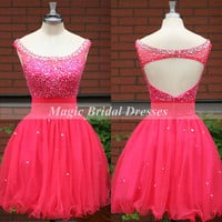 Exquisite Beading Short Prom Dress 2015 Keyhole Back Design Slim Figure A-line Watermelon Homecoming Dress Short Organza Cocktail Gown