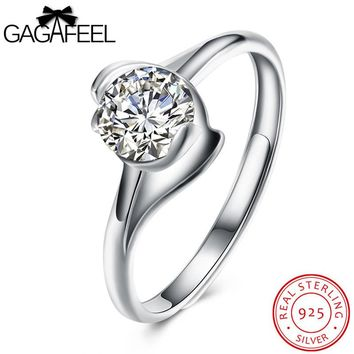 GAGAFEEL AAA Zircon Rings For Women Solid Sterling Silver 925 Jewelry Wedding Engagement Fashion Bridal 5.5MM Width Free Size