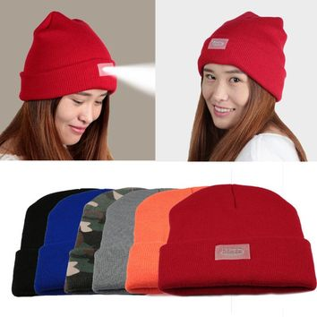 Built-In Flashlight Hat Knitted Beanie 5 LED Work Light With Beanie Warm Hat