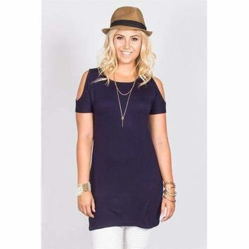 Open Shoulder Tunic - Navy - S