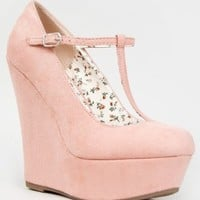 Breckelle's CILO-15 Mary Jane T-Strap Platform Wedge Heel Pump,6 B(M) US,Blush