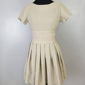 AnR Jr  Lolita Light Brown Tan Taupe and White Gingham Full Skirt Pleated Dress Ric Rac and Crotchet Lace Waist Band