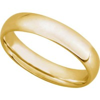 14K Yellow Gold 5mm Comfort Fit Plain Mens Wedding Band (Available Ring Sizes 7-12 1/2)