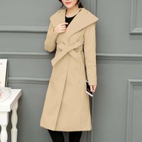 Womens Classic Mid Length Coat in Beige