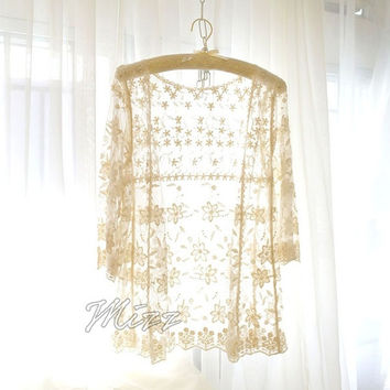 Bohemian Nude Cream Beige Lace Crochet Flower Floral Shawl Cape Jacket Kimono Beach Coverup - Gypsy Beach Summer Love Hippie Shabby Boho = 1928749956