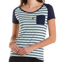 Navy Combo Striped Baseball Tee with Pocket by Charlotte Russe