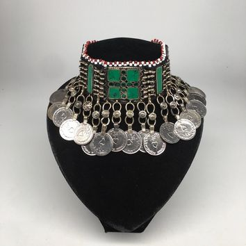 Afghan Kuchi Choker Tribal Green Turquoise Inlay Jingle Coins Necklace, Ck157