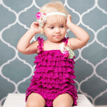 Lace Romper Set,  Baby Lace Romper Set, Petti Lace Romper Set, Fuschia Lace Romper Outfit, Photo Prop, Newborn,  Smash Cake Outfit