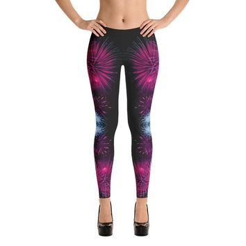 82e73d4166c58 Pink Fireworks New Year's Eve Yoga Leggings | 4th of July | Hippie Clothes  | Festival