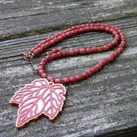 Rust Colored Wood Beaded Maple Leaf Laser Cut Carved Pendant Necklace