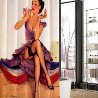 sexy vintage pin up retro girl make up shower curtain, curtains, shower curtains size 36x72 48x72 60x72 66x72
