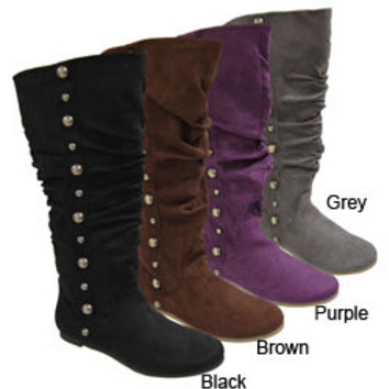 Misbehave by Adi Women's Studded Trim Slouchy Boots | Overstock.com