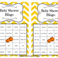 36 Thanksgiving Baby Shower Bingo Printable Cards Prefilled with Baby Gift Words - Pumpkin Baby Shower  Bingo Game -  Orange Chevron