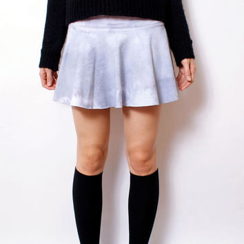 Washed Out Thick-Knit Jersey Pleated Skirt