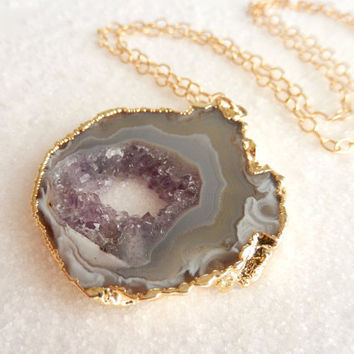 Geode Slice Necklace 14K Gold Raw Amethyst Druzy Freeform Purple Gray Quartz Crystal Boho Pendant Gold Filled Chain - Free Shipping Jewelry