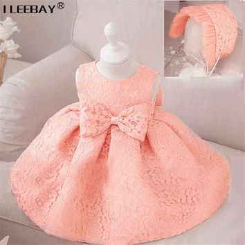 Baby Girl Princess Dresses 1 Year Birthday Party and Wedding Tutu Dress with Bow Todller Baptism Costume Infant Ball Gown(+Hat)