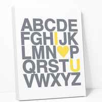 Canvas Print: Alphabet (Grey & Yellow)