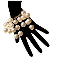 18Mm Layered Pearl Charm Bracelet with Gold Plated Vintage Chain In Pearl with Gold Finish: Jewelry: Amazon.com