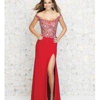 Madison James 15-161 Red Embellished Off The Shoulder High Slit Gown 2015 Prom Dresses