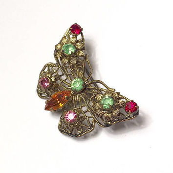 Rhinestone Butterfly Pin Filigree Czechoslovakia Vintage Smaller