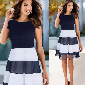 Dark Blue and White Pleated Chiffon Dress