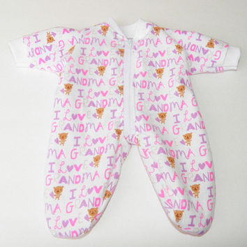 """bitty baby clothes, pajamas pjs sleeper, 15"""" doll twin, pink lavender teddy bear heart, handmade adorabledolldesigns, flannel, zip up"""